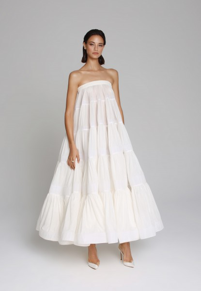 tiered muslin strapless dress