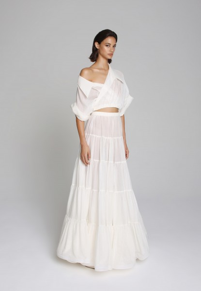 cropped muslin top and tiered skirt