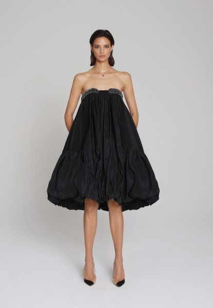 tiered taffeta strapless dress