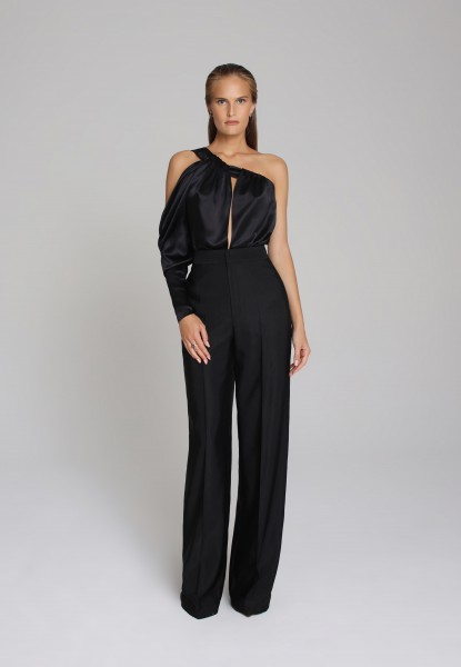 one-shoulder satin top and faille trouser