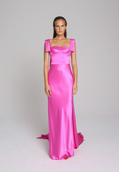 cape-back satin gown