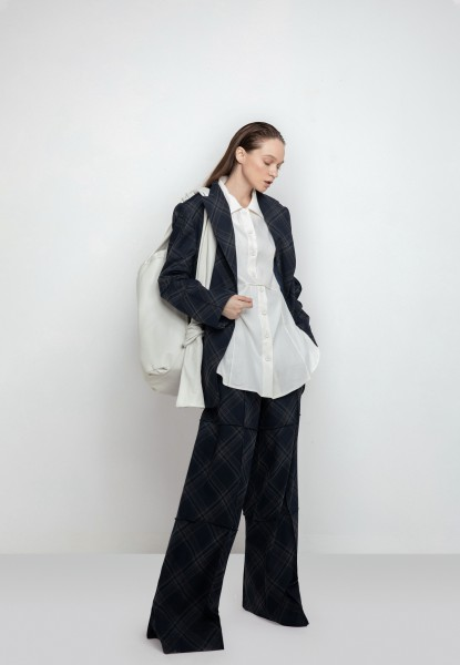 plaid single-breasted jacket, plaid wide-leg pants, oversized linen shirt