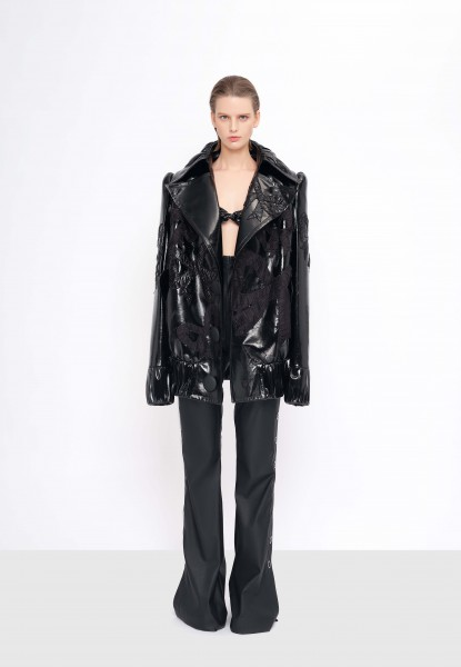 leather coat, bra top and silk-faille flare pants