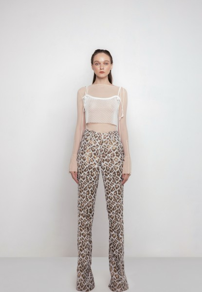 leopard-print brocade trousers