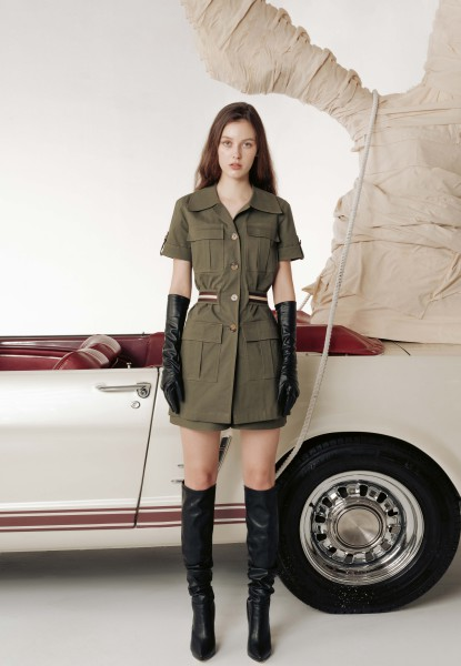 pocket-detailed khaki shirt and short