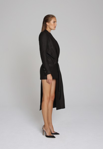 asymmetric linen-silk blazer dress