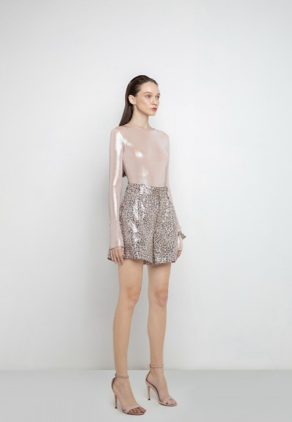 leopard-print sequined short
