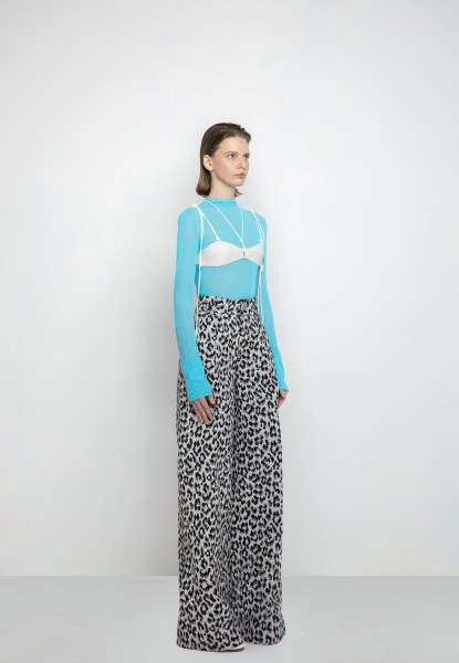 long-sleeved jersey top, leopard-print brocade pants