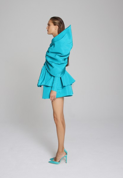 plunging puff-sleeve faille dress