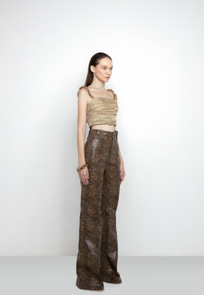 snake-print flared-leg trousers