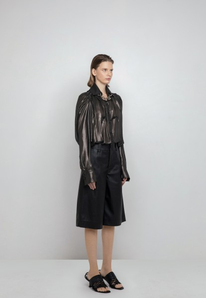 ruched metallic silk shirt, knee-length leather short