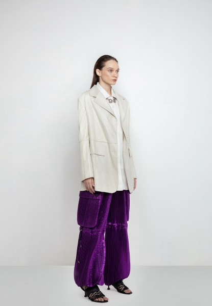 pleated lamé harem pants