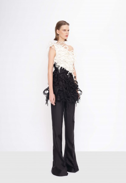 bow-embellished taffeta top and silk-faille flare pants