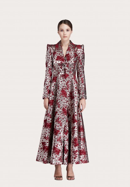 floral metallic brocade coat