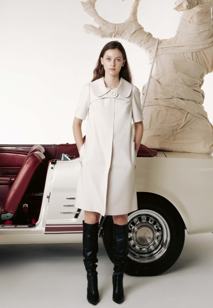 puritan collar khaki dress