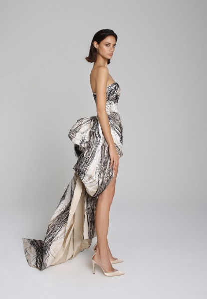 marble-print faille strapless gown