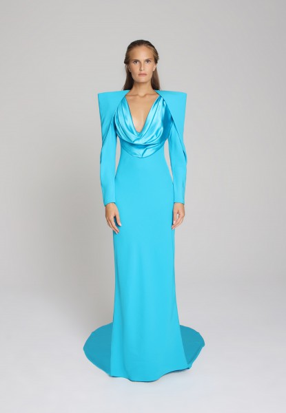 puff-sleeve satin gown