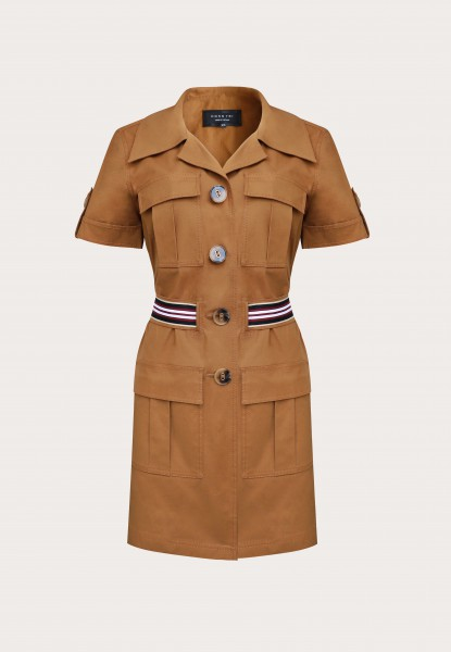 pocket-detailed khaki shirt dress