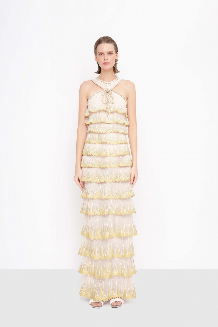 ruffled lazer-cut tulle gown