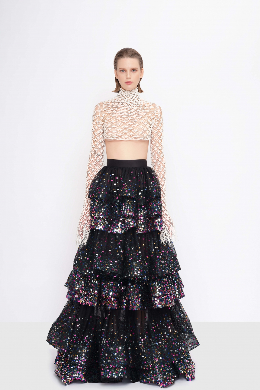 cropped mesh-effect taffeta top and tiered sequined tulle skirt