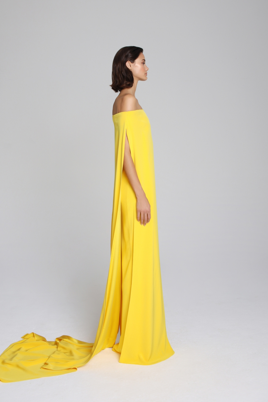 asymmetric draped faille dress
