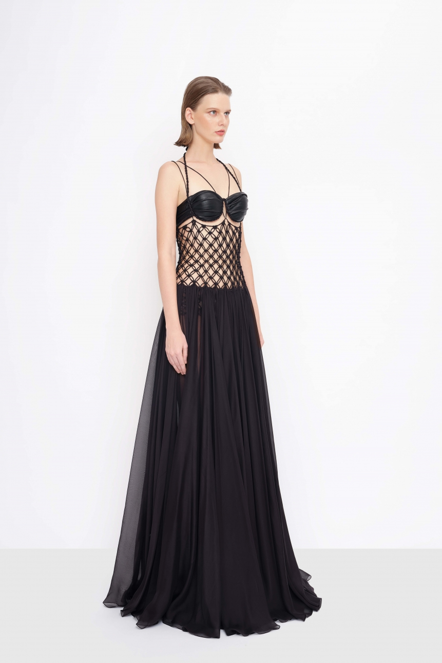 leather bra top and mesh-effect silk gown