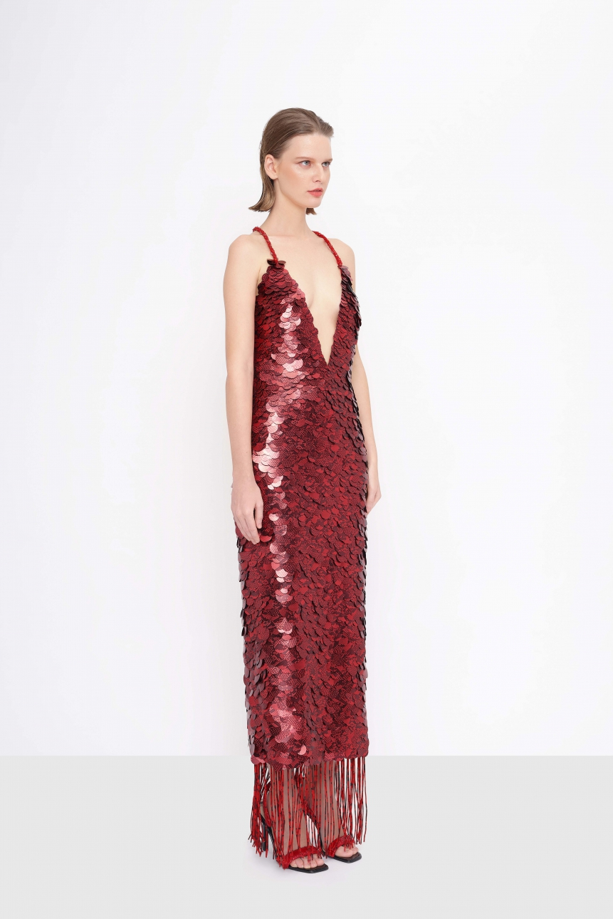 fringe-trimmed sequined dress