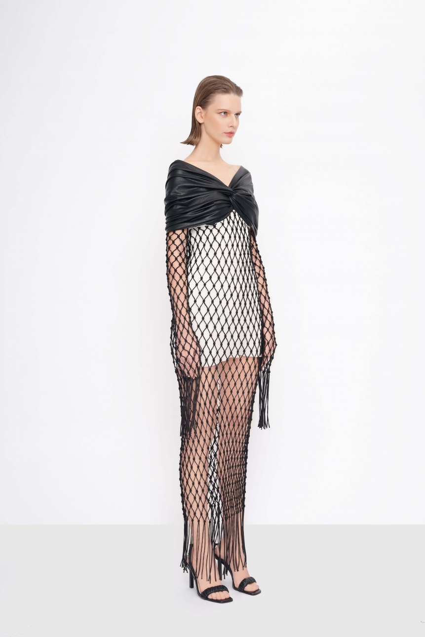 taffeta-leather mesh dress