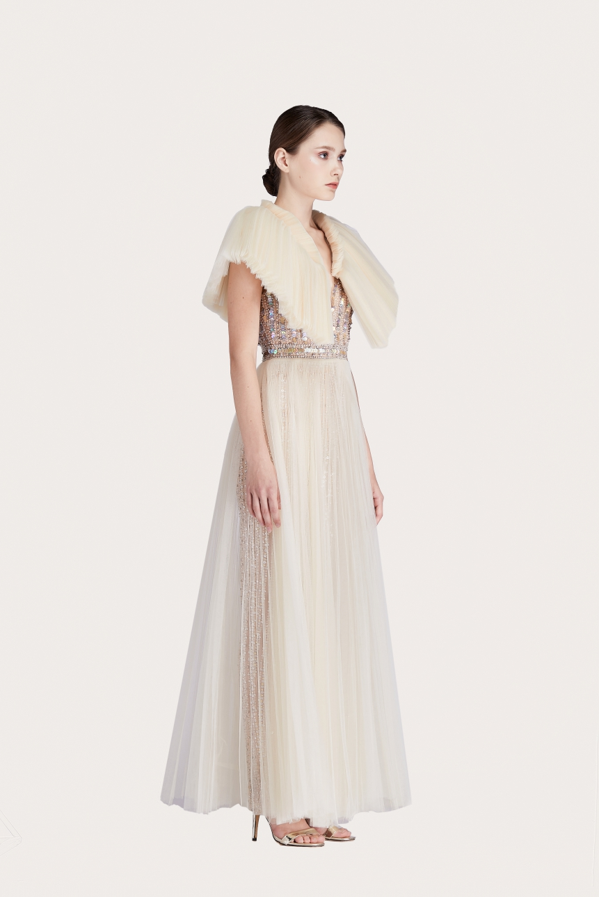 crystal-embellished tulle gown