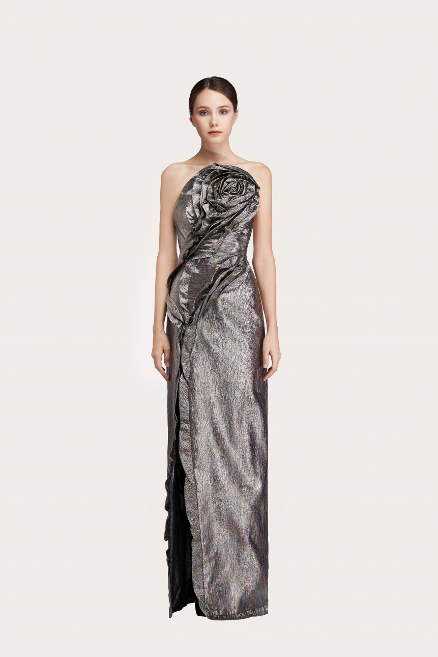 satin crepe strapless gown