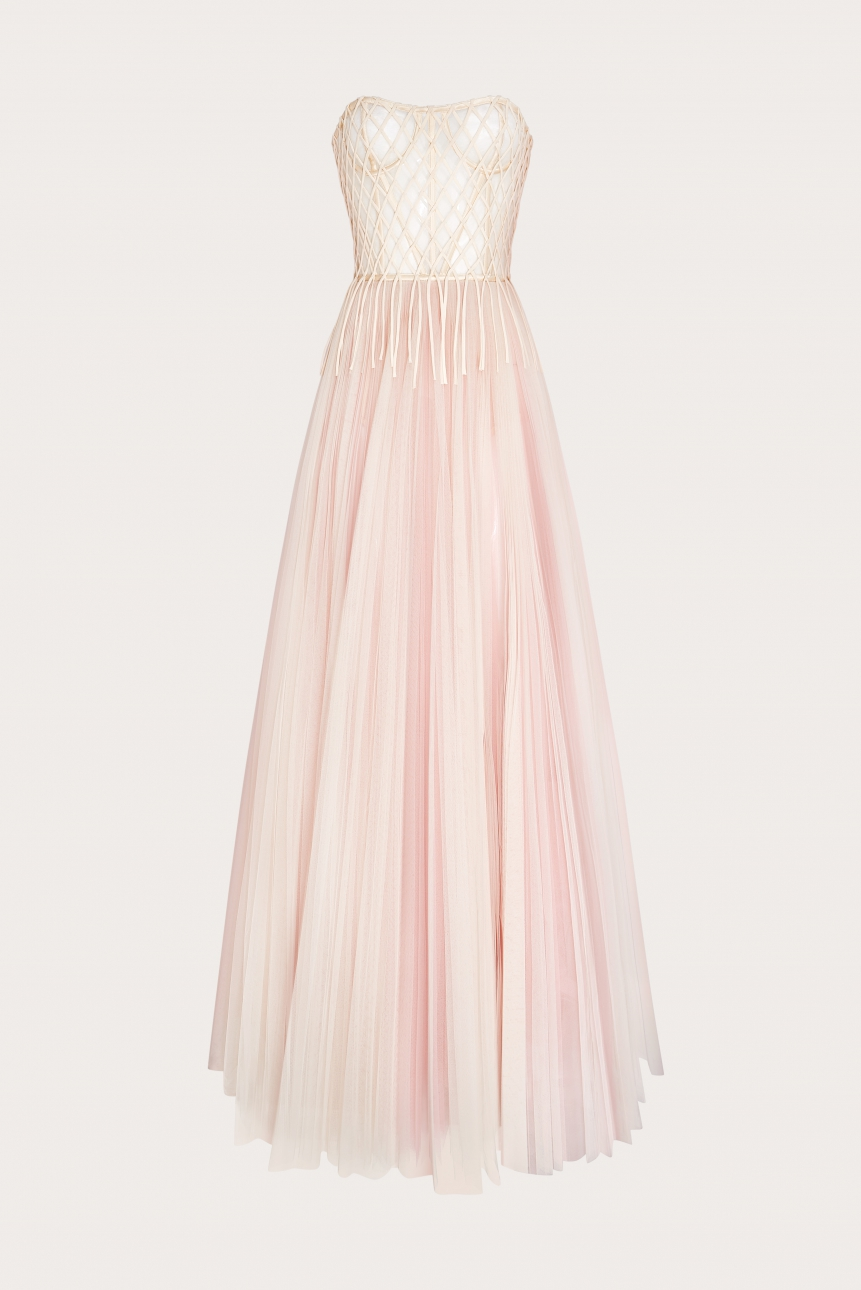 weave-detailed pleated tulle gown