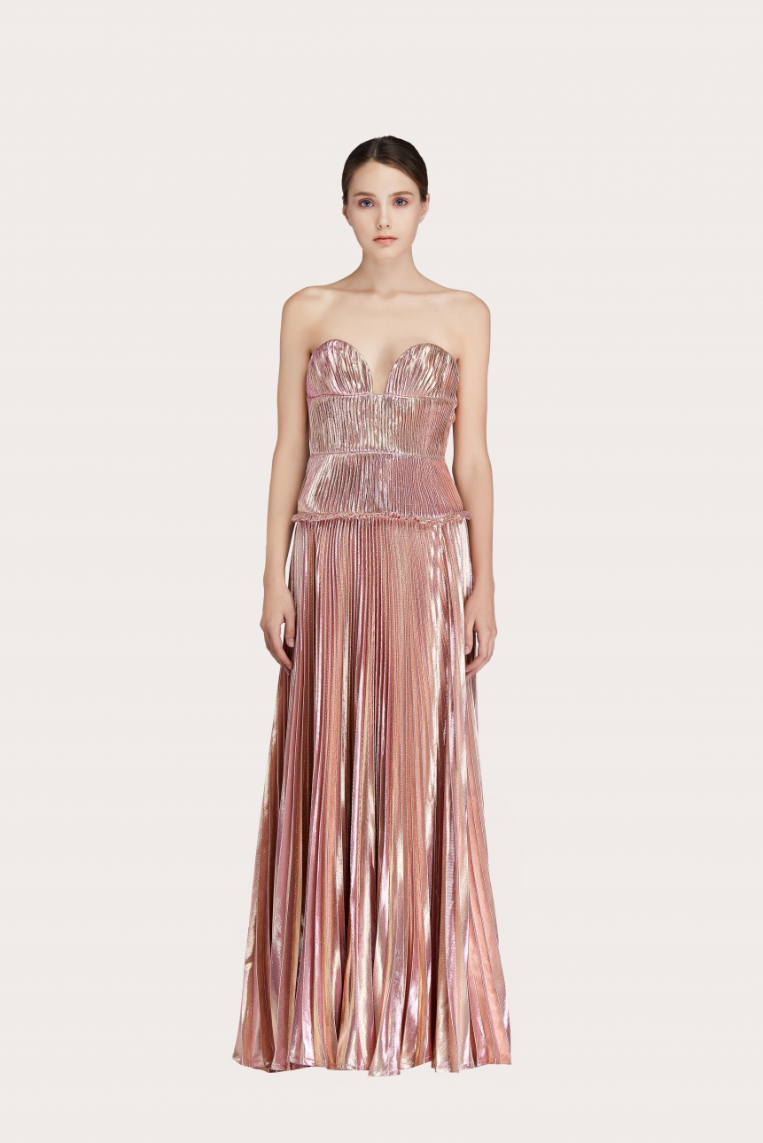 pleated metallic satin crepe gown