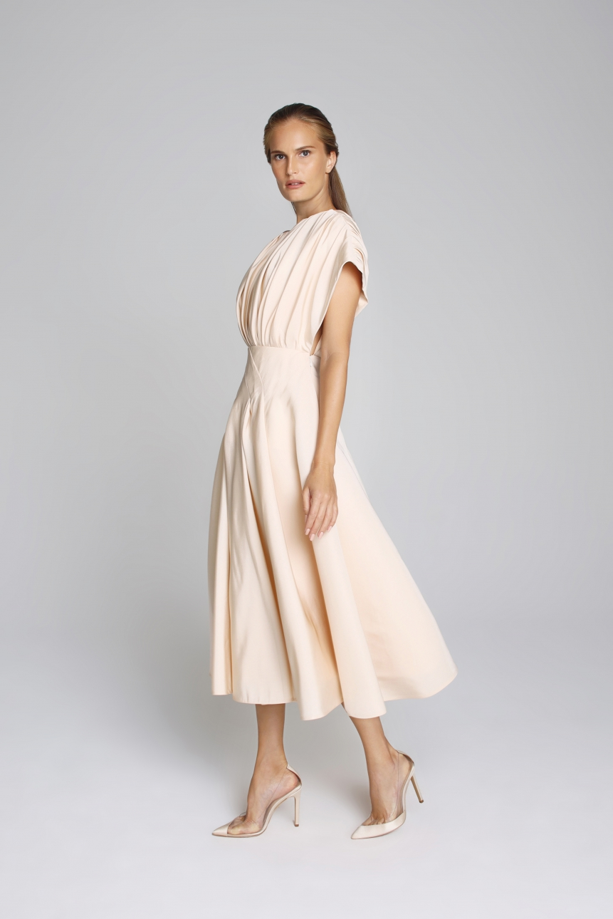 asymmetric faille midi dress