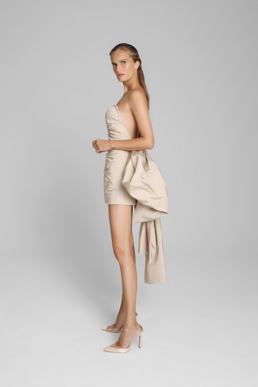 bow-embellished faille strapless dress