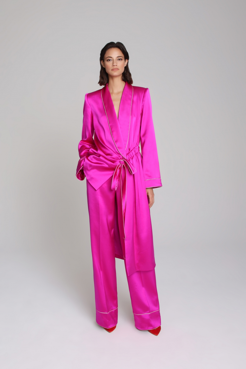 asymmetric satin blazer and trouser