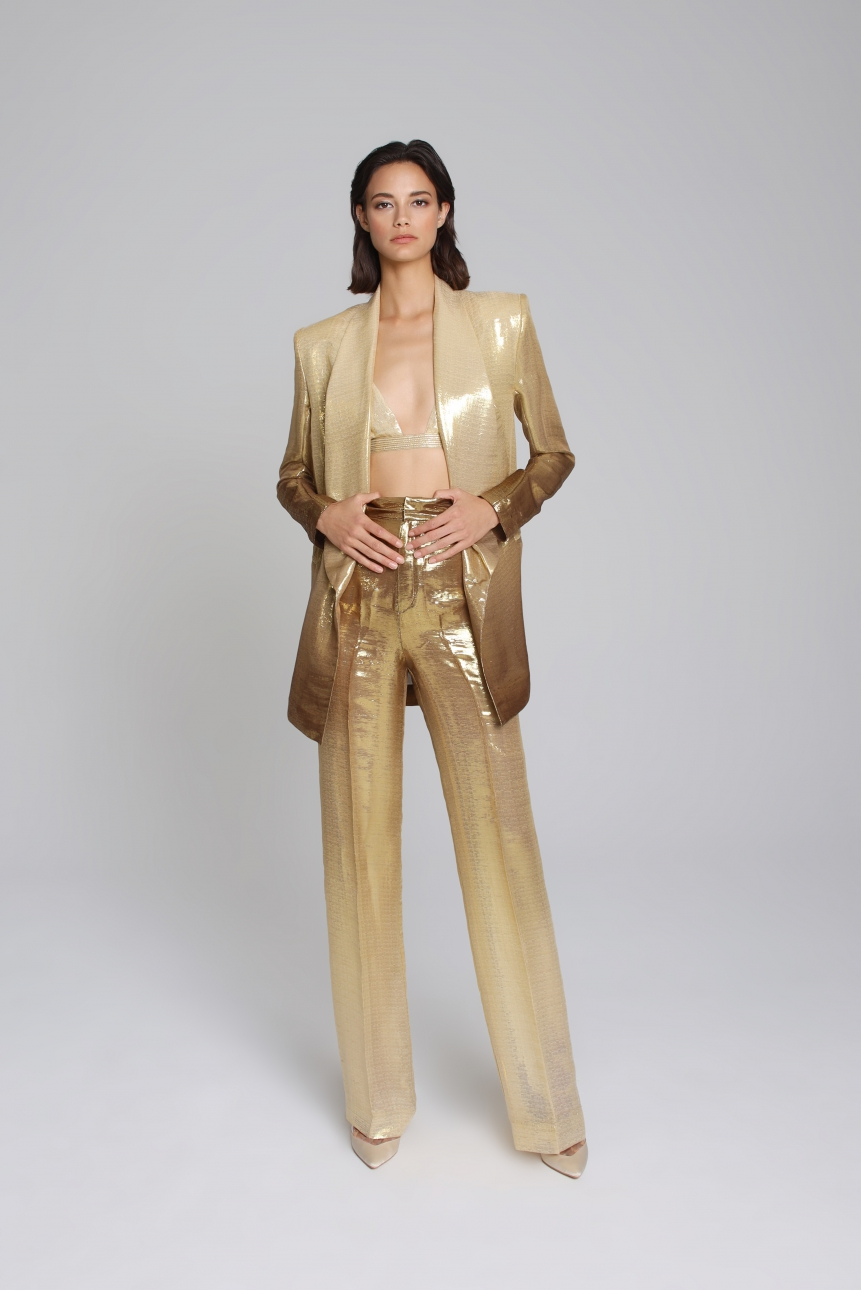 ombre silk-blend lamé blazer and trouser