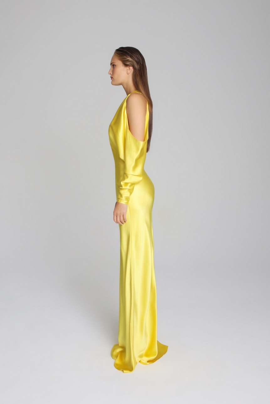 cutout satin gown
