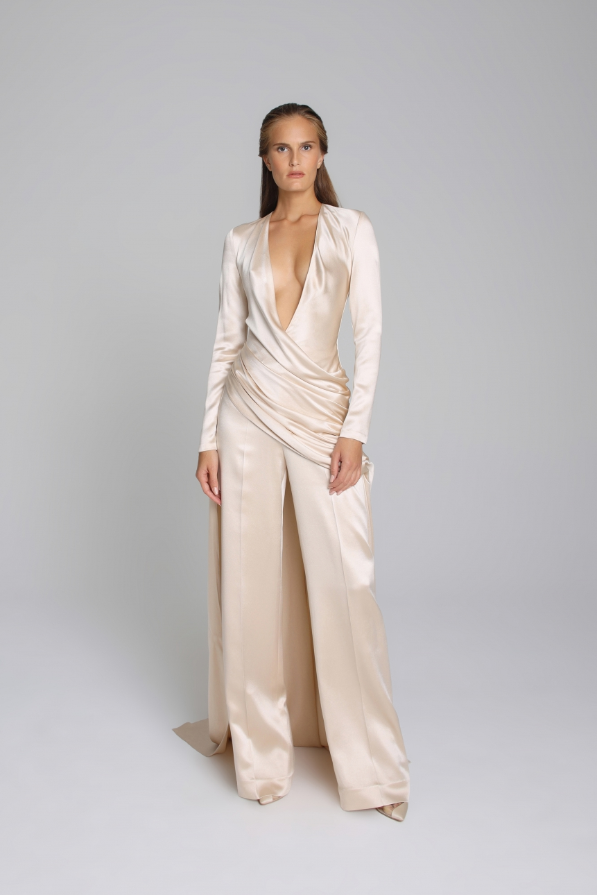 plunging draped satin jumpsuit