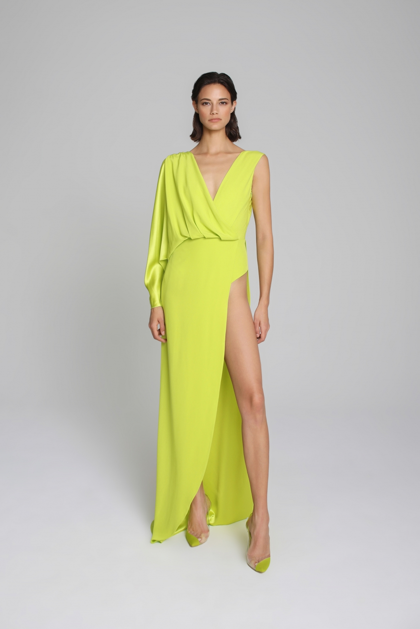 asymmetric satin gown