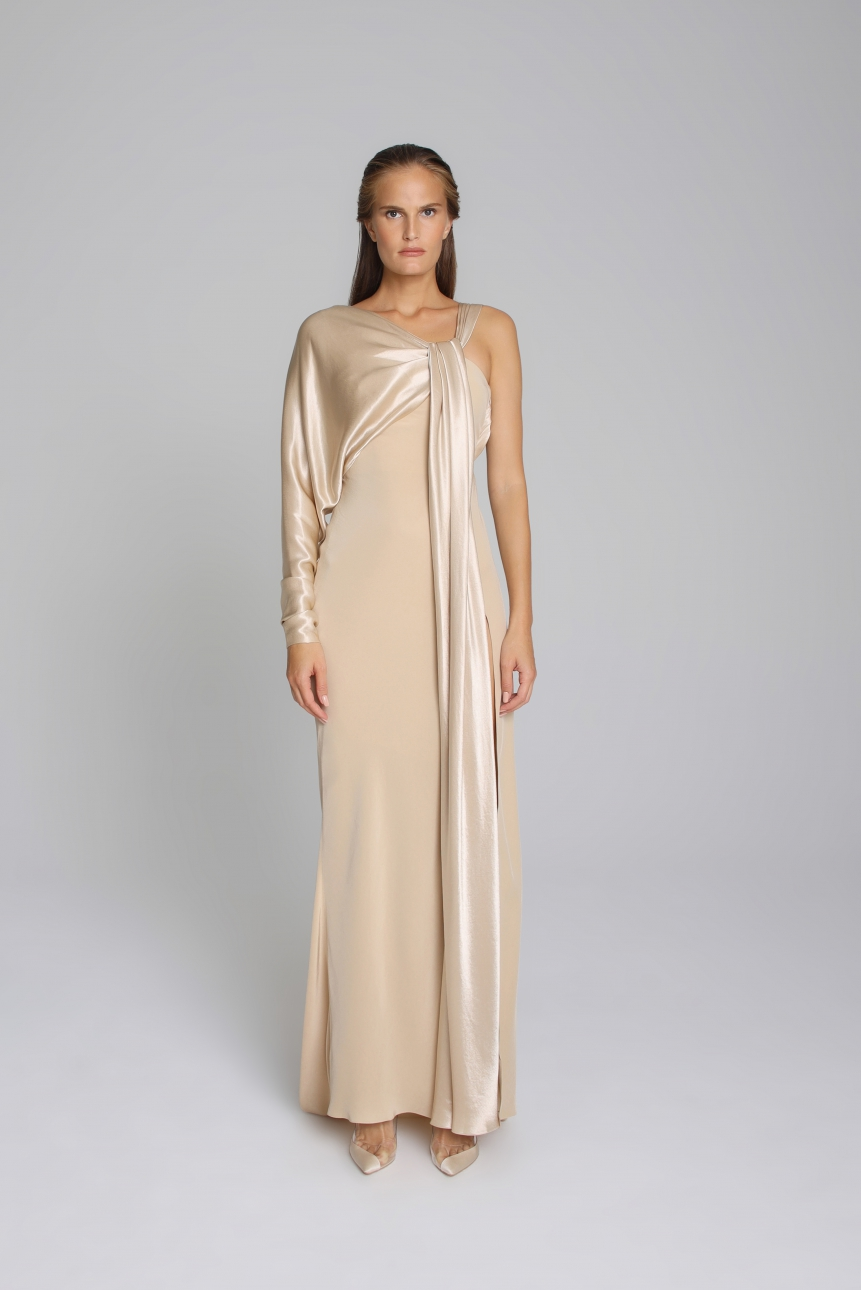 asymmetric satin-trimmed dress