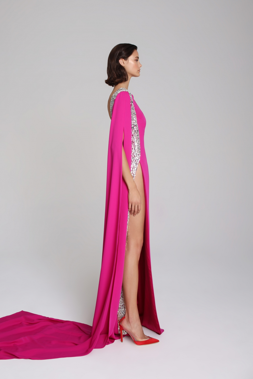 crystal-embellished satin gown