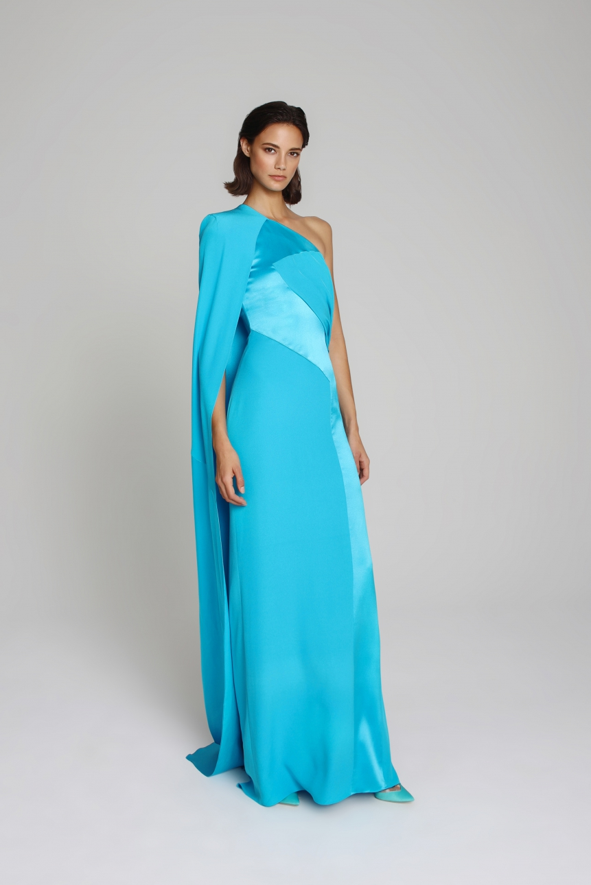 one-shoulder asymmetric satin gown