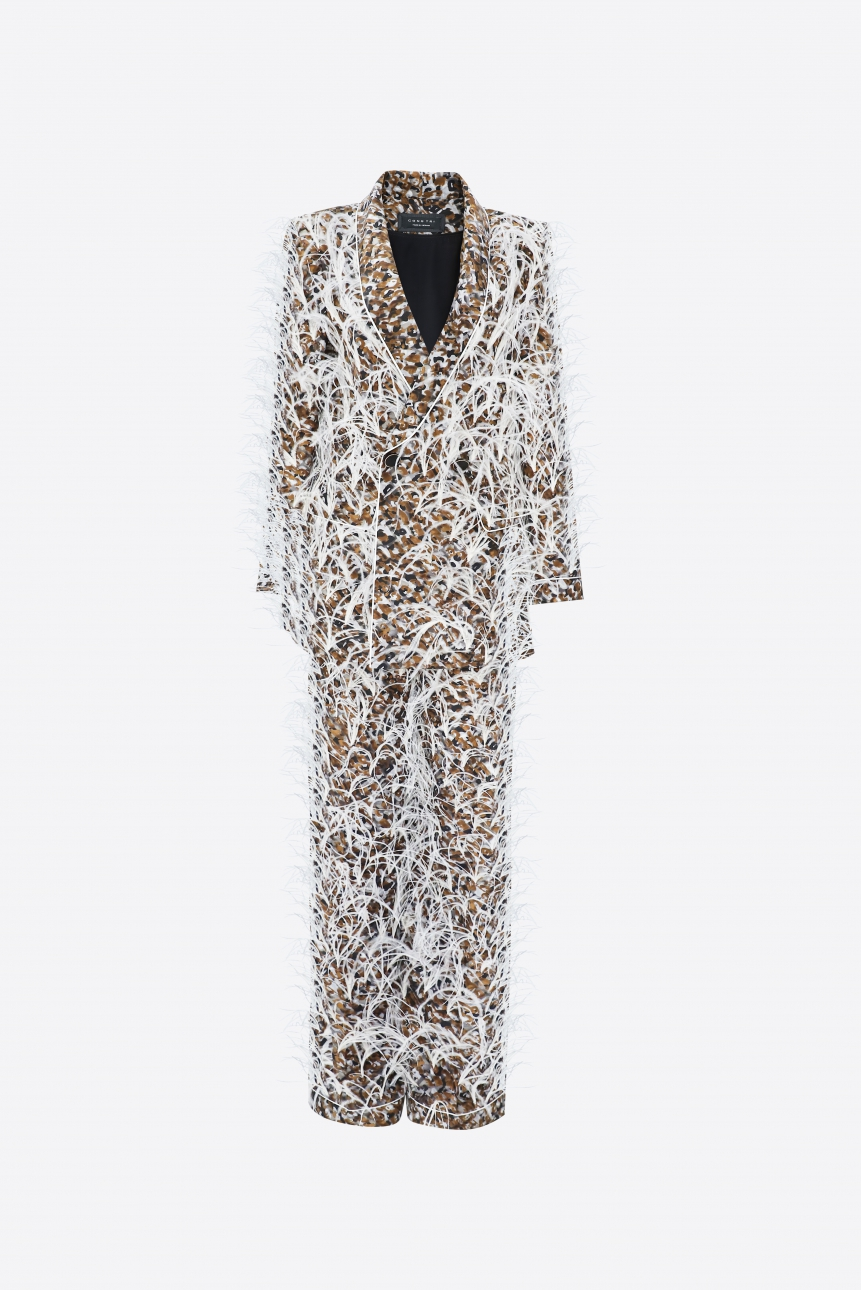 feather-embellished crepe suit